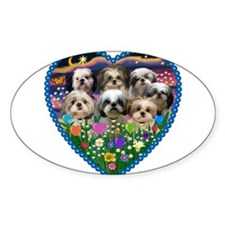 Shih Tzus in Heart Garden Decal