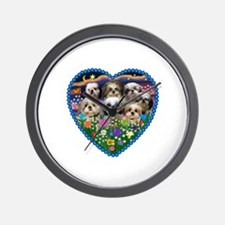 Shih Tzus in Heart Garden Wall Clock