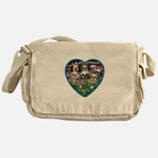 Shih Tzus in Heart Garden Messenger Bag