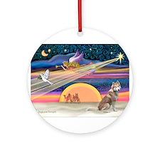 XmasStar/Red Husky Ornament (Round)