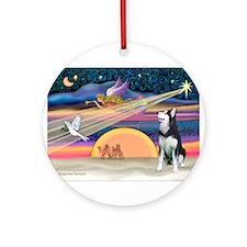 Xmas Star/Siberian Husky Ornament (Round)