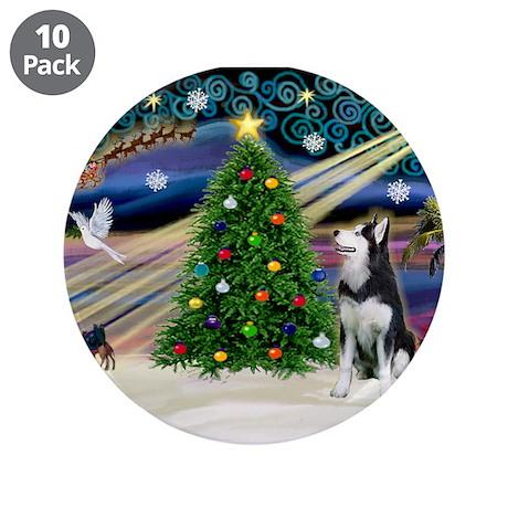 """Xmas Magic/Siberian Husky 1 3.5"""" Button (10 p"""