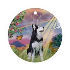 Cloud Angel & Siberian Husky Ornament (Round)