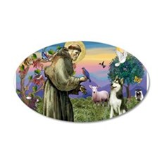 Saint Francis & Husky (red si 22x14 Oval Wall