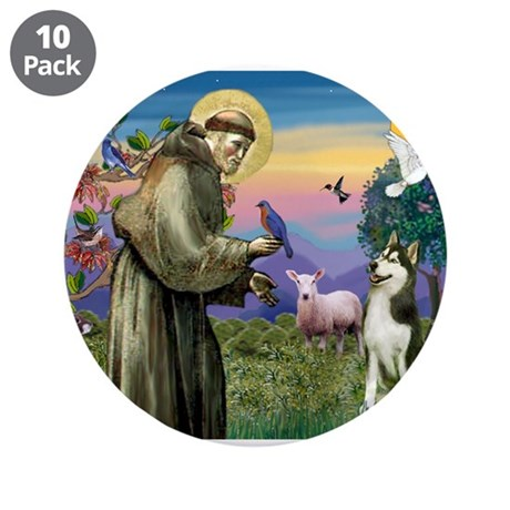 "Saint Francis & Husky (red si 3.5"" Button"