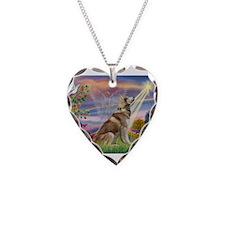 Cloud Angel & Husky Necklace Heart Charm