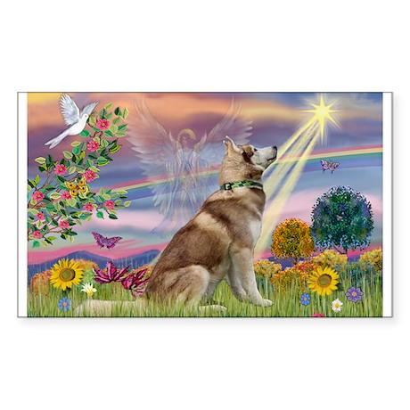 Cloud Angel & Husky Sticker (Rectangle 10 pk)