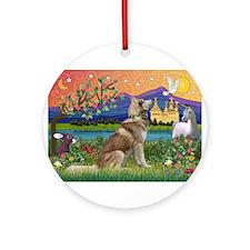 Fantasy Land Husky Ornament (Round)