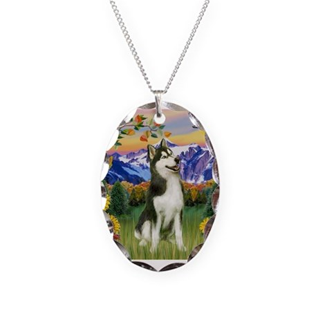 Mt Country & Husky Necklace Oval Charm