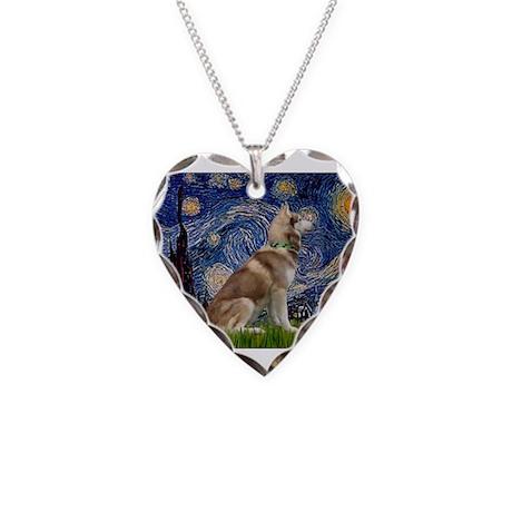 Starry Night & Husky Necklace Heart Charm