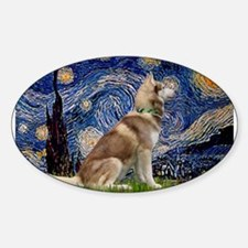 Starry Night & Husky Sticker (Oval)