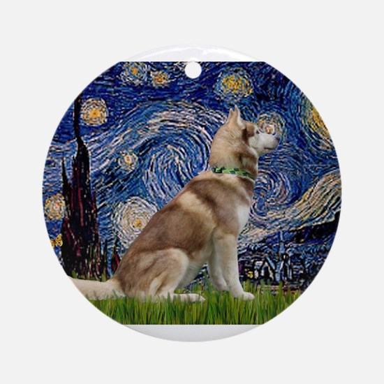Starry Night & Husky Ornament (Round)