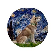 "Starry Night & Husky 3.5"" Button"