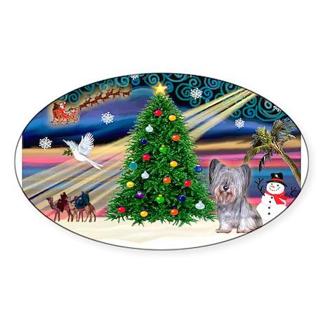 Xmas Magic / Skye Terrier (Bl Sticker (Oval)