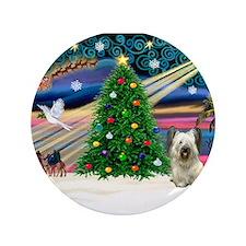 """Xmas Magic / Skye Terrier 3.5"""" Button"""