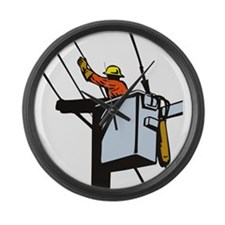 power lineman repairman Large Wall Clock