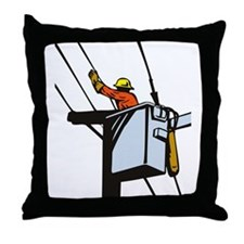 power lineman repairman Throw Pillow