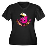 Pigs is Beautiful Women's Plus Size V-Neck Dark T-