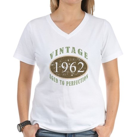 Vintage 1962 Aged To Perfection Women's V-Neck T-S