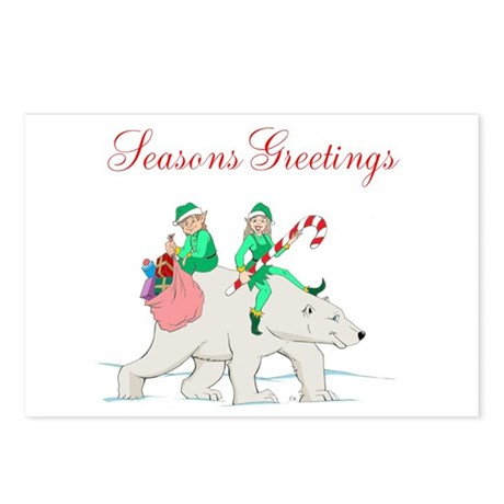 Christmas Elves & Polar Bear Postcards (Package of