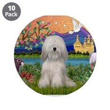 "Tibetan Terrier in Fantasy La 3.5"" Button (10"