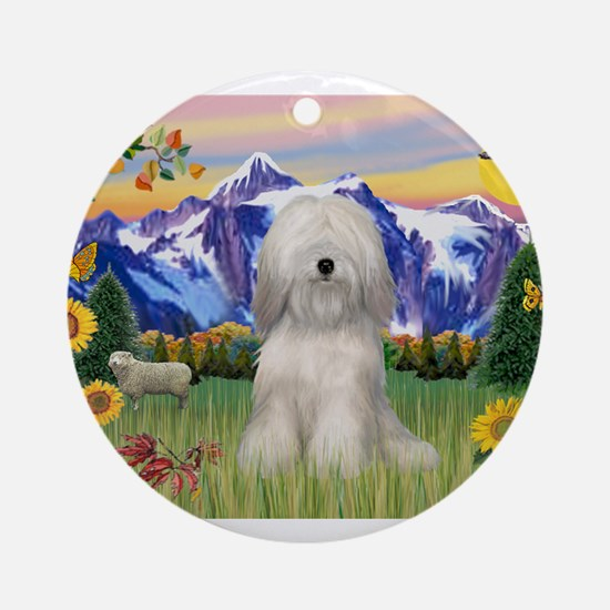 Tibetan Terrier in Mt. Countr Ornament (Round)