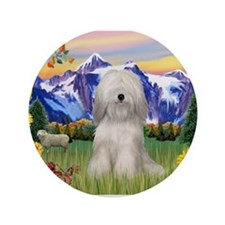 "Tibetan Terrier in Mt. Countr 3.5"" Button"
