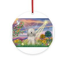 Cloud Angel & Tibetan Terrier Ornament (Round)