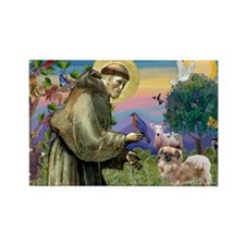 St. Francis & Tibetan Spaniel Rectangle Magnet