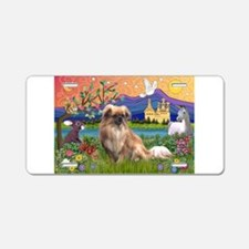 Tibetan Spaniel in Fantasy La Aluminum License Pla