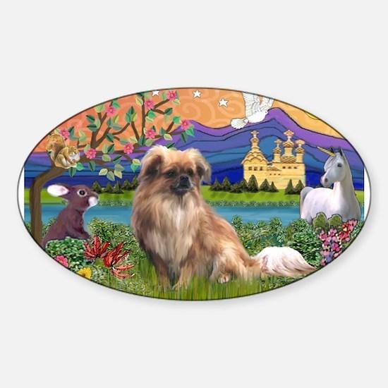 Tibetan Spaniel in Fantasy La Sticker (Oval)