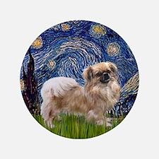 "Starry Night Tibetan Spaniel 3.5"" Button"