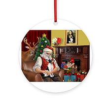 Santa & Toy Fox Terrier Ornament (Round)