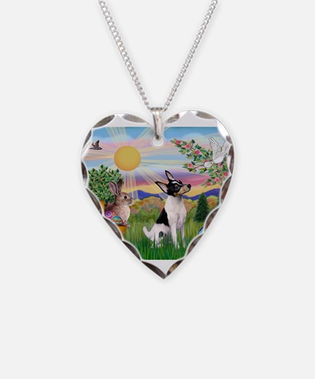 Toy Fox Terrier Easter Necklace
