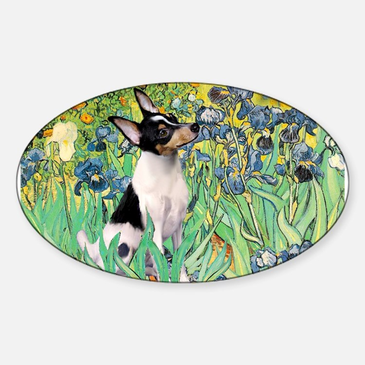 Irises & Toy Fox Terrier Decal