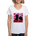Kiss Me Under The Mistletoe Women's V-Neck T-Shirt