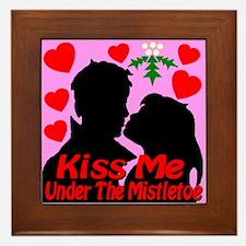 Kiss Me Under The Mistletoe Framed Tile