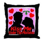 Kiss Me Under The Mistletoe Throw Pillow