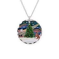 XmasMagic/Weimaraner 4 Necklace Circle Charm