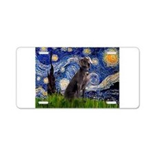 Starry Night Weimaraner Aluminum License Plate