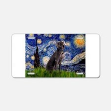 Starry Night Weimaraner Aluminum License Plate