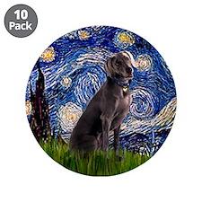 "Starry Night Weimaraner 3.5"" Button (10 pack)"