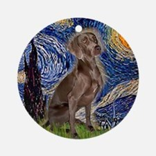 Starry Night & Weimaraner (Nv Ornament (Round)