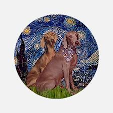 "Starry Night Weimaraners 3.5"" Button"