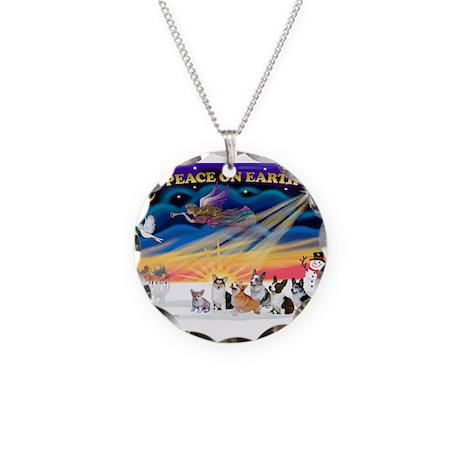 XmasSunrise/6 Corgis Necklace Circle Charm