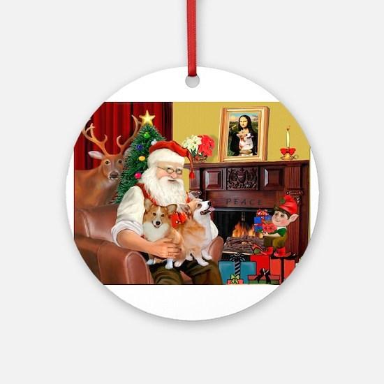 Santa's 2 Corgis (P2) Ornament (Round)