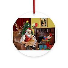 Santa's Welsh Corgi (7b) Ornament (Round)