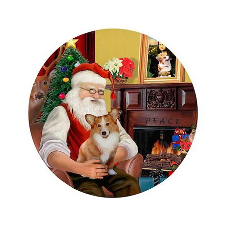 """Santa's Corgi (#3P) 3.5"""" Button"""