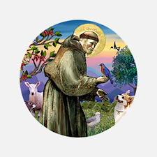 """St Francis /Welsh Corgi (p) 3.5"""" Button"""