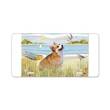 Rowboat & Corgi (Pem) Aluminum License Plate